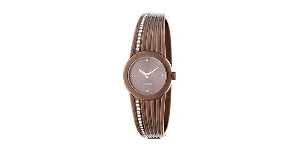 Dámske oceľové hodinky Esprit v medenej farbe s kryštálmi