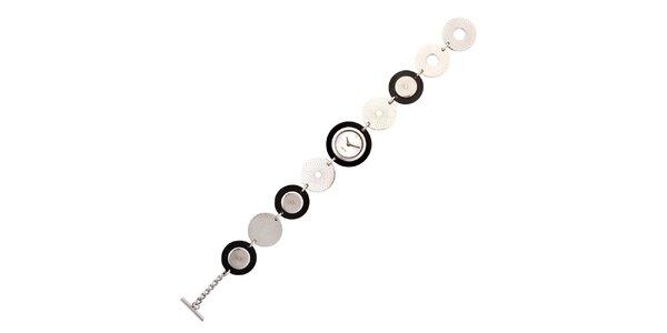 Dámske strieborno-čierne náramkové hodinky Esprit