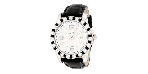 Dámske čierno-biele analogové hodinky s kryštálmi Esprit