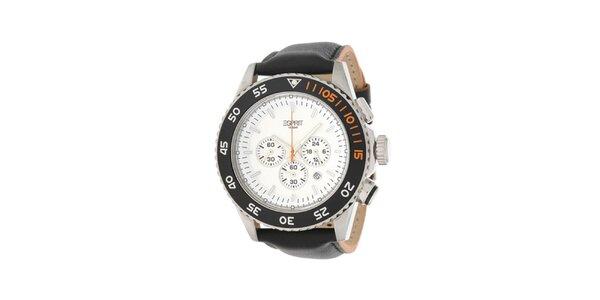 Pánske analogové hodinky s chronografom a bielym ciferníkom Esprit