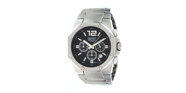 Pánske strieborné oceľové hodinky s chronografom Esprit