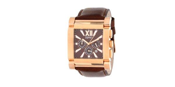 Pánske oceľové hodinky Esprit s hnedým koženým remienkom
