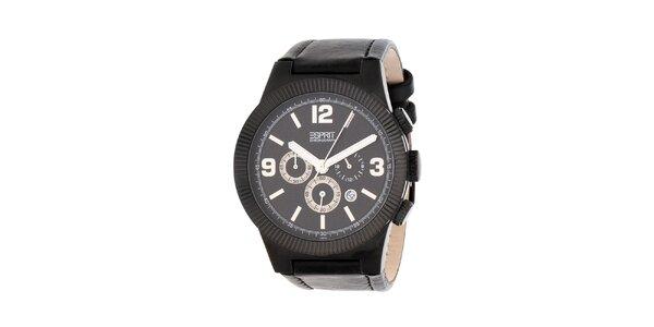 Pánske čierne hodinky Esprit s koženým remienkom