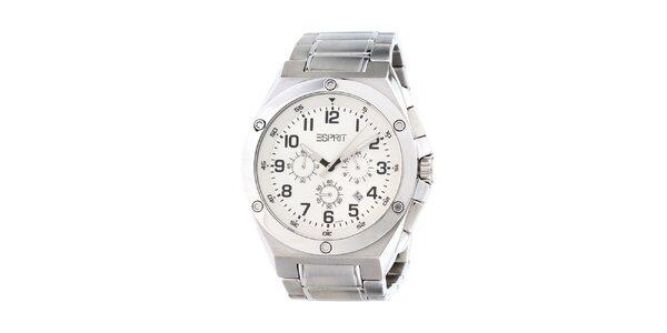 Pánske oceľové analogové hodinky s bielym displejom Esprit