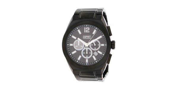 Pánske oceľové čierne hodinky Esprit