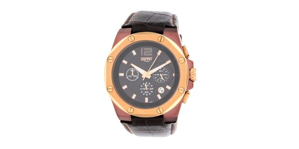 Pánske hnedo-zlaté hodinky s chronografom Esprit