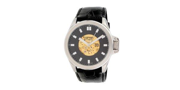 Pánske čierne analogové hodinky s farebnými detailmi Esprit