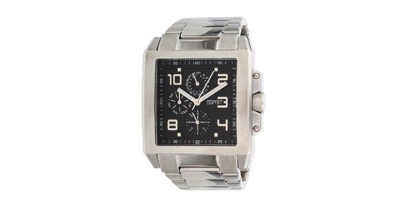 Pánske hranaté strieborné oceľové hodinky Esprit s dátumovkou