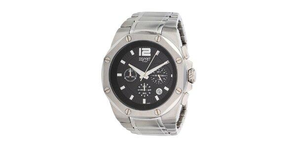 Pánske oceľové hodinky s čiernym displejom Esprit