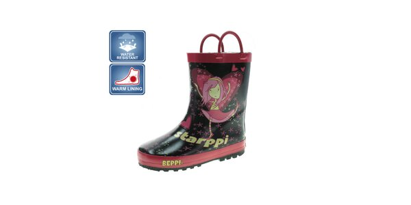 Dievčenské čierno-ružové čižmy s vílou Beppi