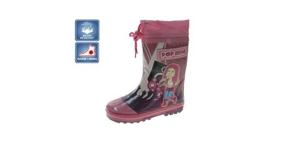 Dievčenské ružové čižmy so speváčkou Beppi