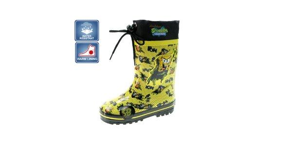 Detské žlté zateplené čižmy Beppi s motívom Spongeboba