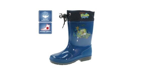 Detské modré zateplené čižmy Beppi s motívom Spongeboba