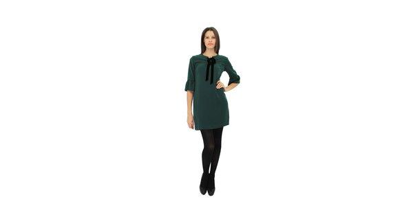 Dámske tmavo zelené šaty Miss June s čiernou mašľou