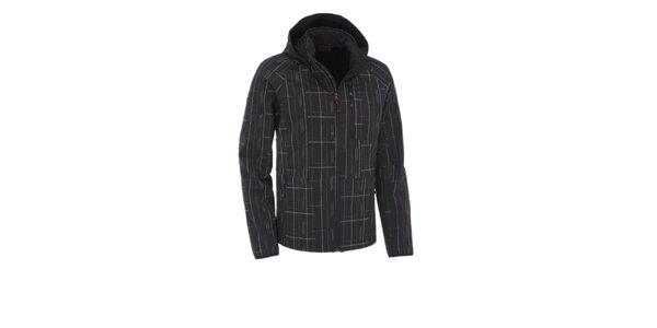 Pánska čierna softshellová bunda Maier s šedou potlačou