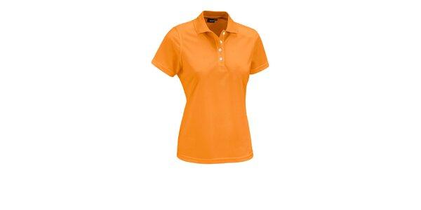 Dámske oranžové polo tričko Maier s bielymi gombíkmi