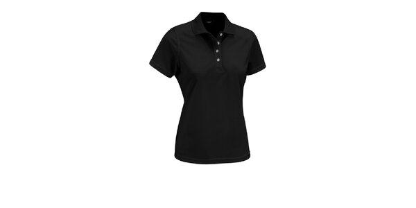Dámske čierne polo tričko Maier s bielymi gombíkmi