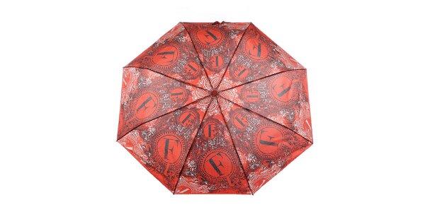 Dámsky červený dáždnik s dekorativnym vzorom Ferré Milano