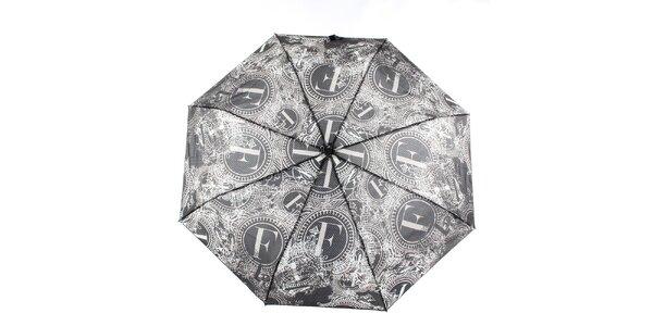 Dámsky čierno-biely vystreľovací dáždnik s dekorativnym vzorom Ferré Milano