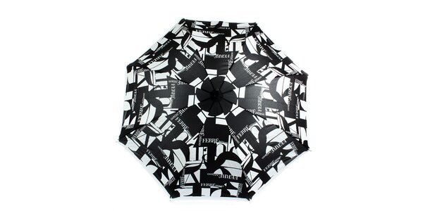 Dámsky šedo-čierny veľký vystreľovací dáždnik s logom Ferré Milano