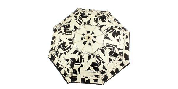 Dámsky krémovo-čierny vystreľovací dáždnik s logom Ferré Milano