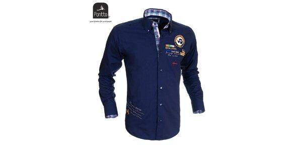 Pánska tmavo modrá košeľa Pontto