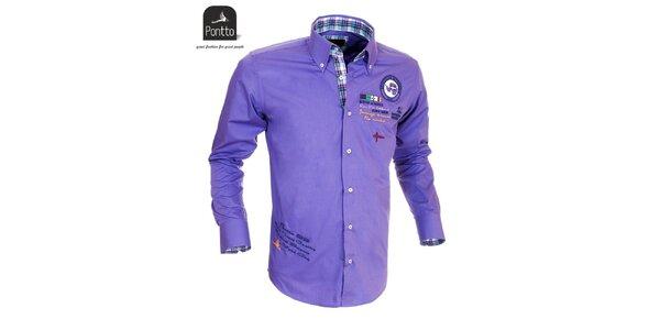 Pánska fialová košeľa Pontto s vyšívaním