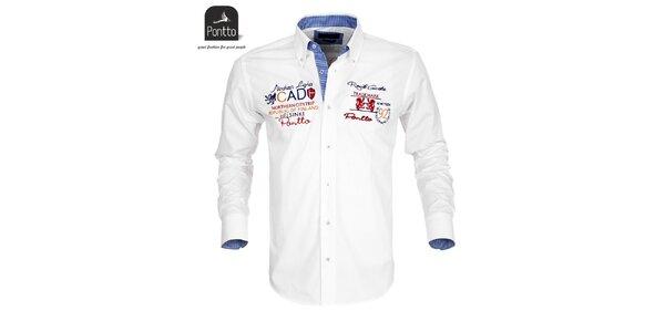 Pánska biela košeľa Pontto s vyšívaním na hrudi