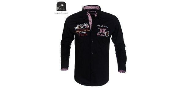 Pánska čierna košeľa Pontto s vyšívaním na hrudi