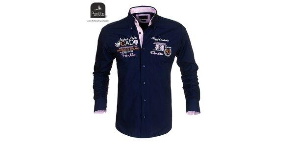 Pánska tmavo modrá košeľa Pontto s vyšívaním na hrudi