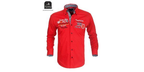 Pánska červená košeľa Pontto s vyšívaním na hrudi