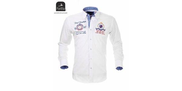 Pánska biela košeľa Pontto s modro károvanou podšívkou