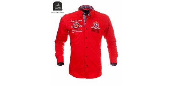 Pánska červená košeľa Pontto s čierno károvanou podšívkou