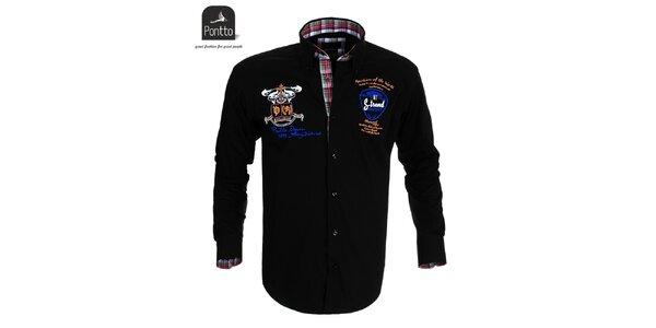 Pánska čierna košeľa Pontto s nášivkami