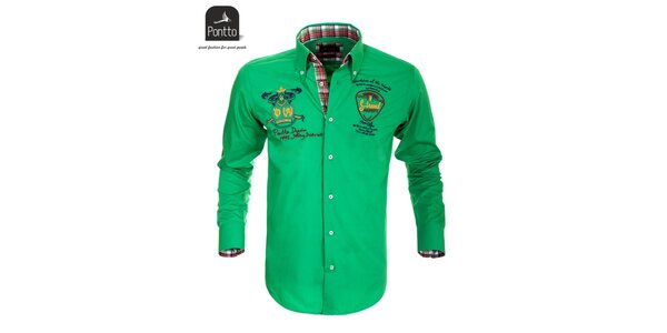 Pánska zelená košeľa s nášivkami Pontto