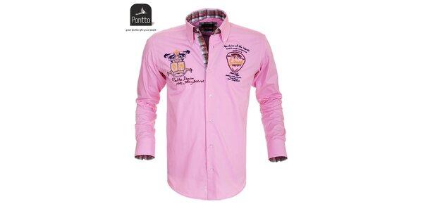 Pánska ružová košeľa s nášivkami Pontto