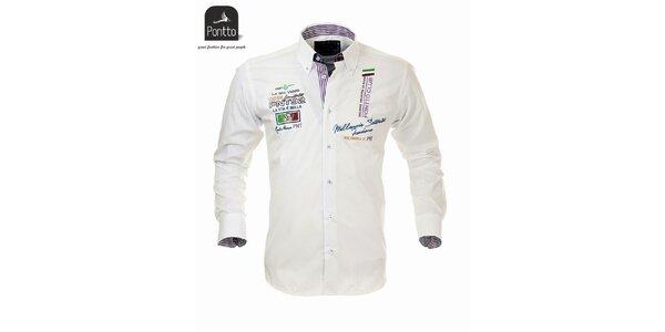 Pánska biela košeľa Pontto s vlajkovými výšivkami