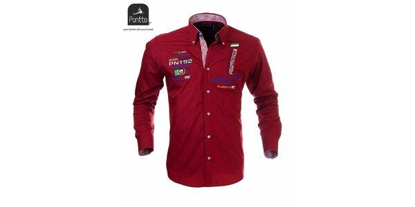 Pánska červená košeľa Pontto s vlajkovými výšivkami