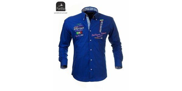 Pánska modrá košeľa Pontto s vlajkovými výšivkami