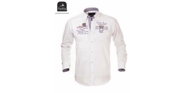 Pánska biela košeľa s nášivkou na hrudi Pontto