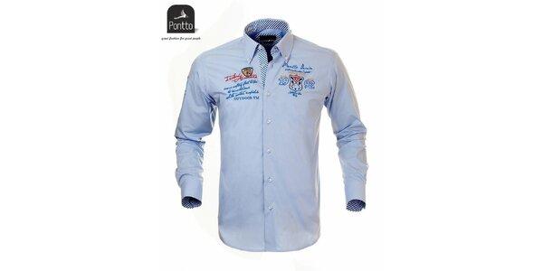 Pánska bledomodrá košeľa s nášivkou na hrudi Pontto