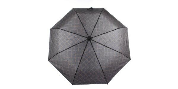 Pánsky čierny dáždnik s potlačou loga Ferré Milano