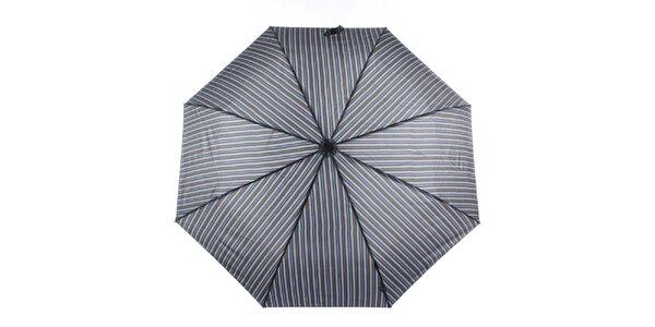 Pánsky modro-šedý pruhovaný dáždnik s hnedým detailom Ferré Milano