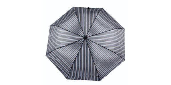 Pánsky šedo-modrý dáždnik s prúžkom Ferré Milano