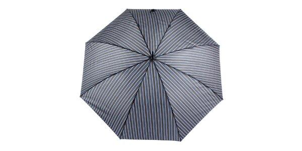 Pánsky šedo-modrý pruhovaný vystreľovací dáždnik s prúžkom Ferré Milano