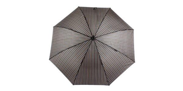 Pánsky hnedý pruhovaný vystreľovací dáždnik s prúžkom Ferré Milano