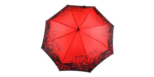 Dámsky červeno-čierny vystreľovací dáždnik Ferré Milano