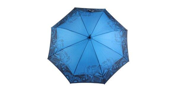 Dámsky modro-čierny vystreľovací dáždnik Ferré Milano