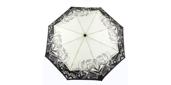 Dámsky krémový dáždnik s tropickými kvetmi Ferré Milano