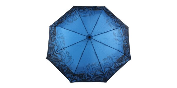 Dámsky modrý dáždnik s tropickými kvetmi Ferré Milano